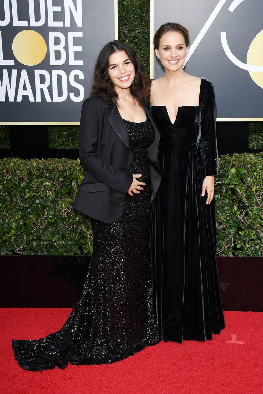 Natalie Portman and America Ferrera | Golden Globes 2018