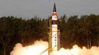 Nuclear-Capable Agni-5 Ballistic Missile Successfully Test-Fired Off Odisha Coast
