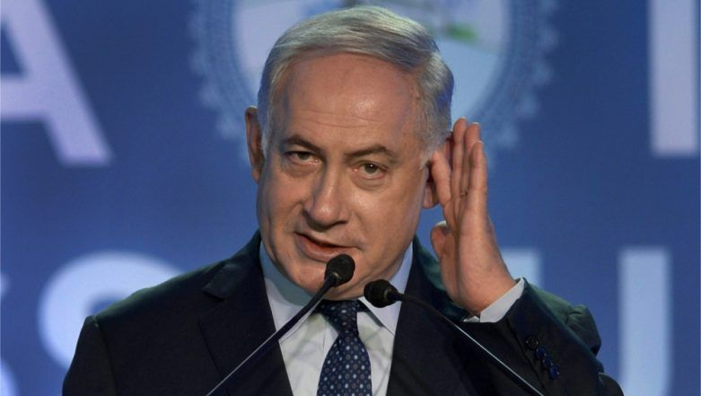 Israeli PM Benjamin Netanyahu Evacuated From Stage in Ashdod City After Rockets Fired From Gaza; Watch Video