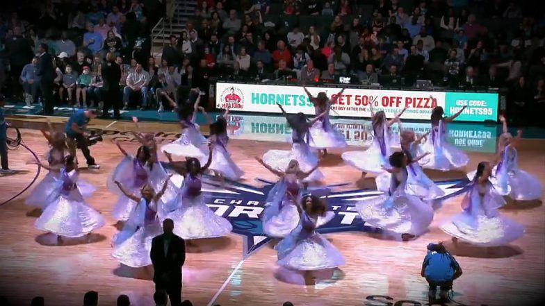 cheerleaders perform to ghoomar song from movie padmaavat in a nba