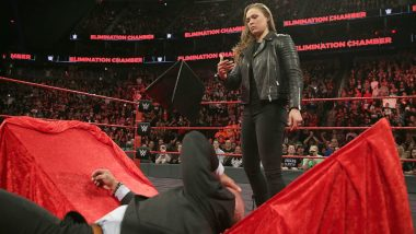 Ronda Rousey Slams Triple H Through the Table Video: Former UFC Superstar Signs WWE Raw Contract at Elimination Chamber 2018