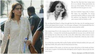 Sonam Kapoor Shares Official Family Note on Sridevi's Demise: Seeks Love and Support for Jhanvi and Khushi, Urges Media to Respect Privacy!