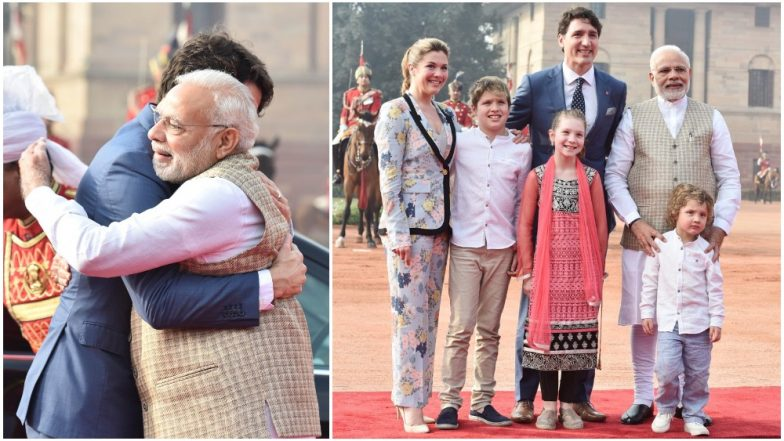 Narendra Modi Greets Justin Trudeau With His Signature Bear-Hug, Strikes Pose With Wife