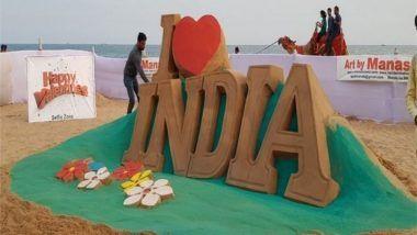 Valentine's Day 2018: Sand Artist Manas Sahoo Turned Puri Sea Beach Into Beautiful 'Selfie Point'