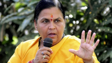 Uma Bharti Reaches Ayodhya Day Before Ram Mandir Bhumi Pujan, Offers Prayers at Saryu Ghat