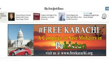 'FreeKarachi' Campaign Ads Appear on Leading US Newspaper- The New York Times