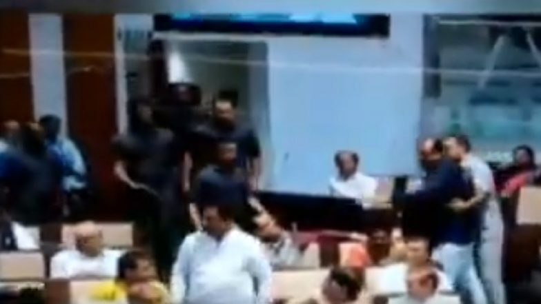 Ruckus in Gujarat Assembly Congress MLA Pratap Dudhat Hits BJP's Jagdish Panchal With Belt – Watch Video