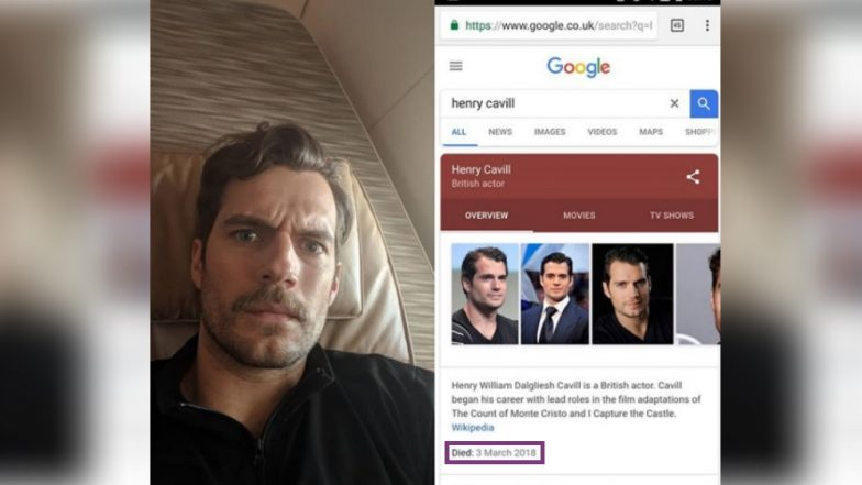 Henry Cavill is NOT DEAD, Google! Justice League's Superman Quashes Death Hoax Pokes Fun at Internet
