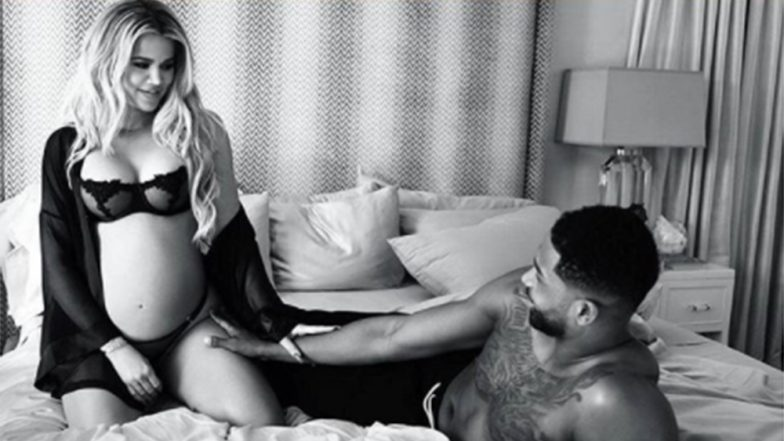 Khloe Kardashian Cradles Growing Baby Bump in Sexy Lingerie Snap