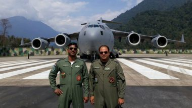 IAF's C-17 Globemaster Transport Aircraft Carries Out Historic Landing Near the China Border in Arunachal Pradesh