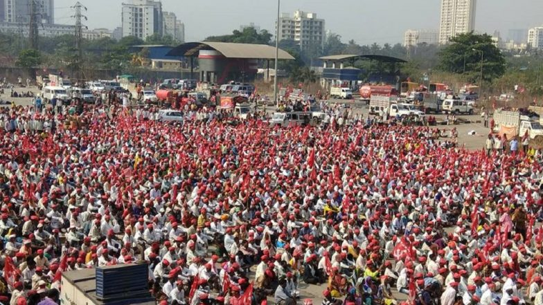 Red sea of farmers marching against Maharashtra govt reaches Bhiwandi