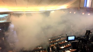 Tear Gas Canister Fired in Kosovo Parliament Video: Watch Lawmakers Vote for Border Deal Despite Heavy Smoke