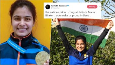 Manu Bhaker Wins 2nd Gold at ISSF World Cup, Amitabh Bachchan, Virender Sehwag Lead Twitterati in Congratulating Teenage Shooting Champ!