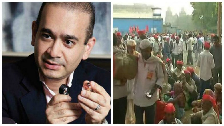 Farmers protest in Ahmednagar against Nirav Modi