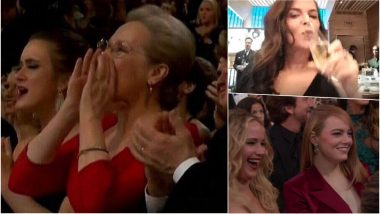 Oscars 2018 Top Funny Moments: Meryl Streep Jumping in Joy, Jennifer Lawrence-Emma Stone Laughing GIF, & Much More