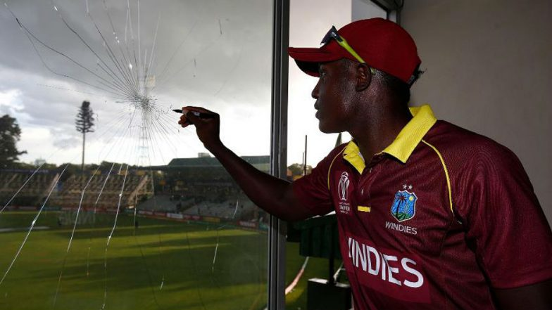 ICC World Cup Qualifiers 2018: Rovman Powell Breaks Glass With Six, Later Signs Autograph on Broken Window (Video)