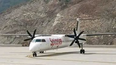 Historic Landing At Pakyong Airport In Sikkim: Spicejet 78 seater Bombardier Q400 Aircraft Makes Successful Landing