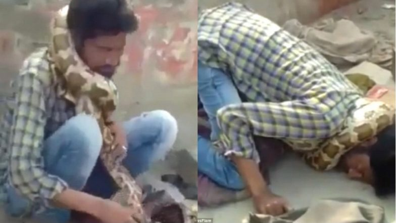 Indian snake charmer gets strangled by a python during a live show