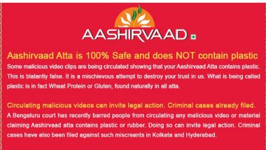 Is Aashirvaad Atta Safe? It's Not Plastic, But Gluten Says ITC, Files FIR against Malicious Videos