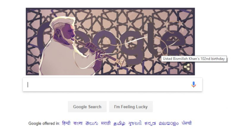 Google dedicates doodle to Bismillah Khan on his 102 anniversary