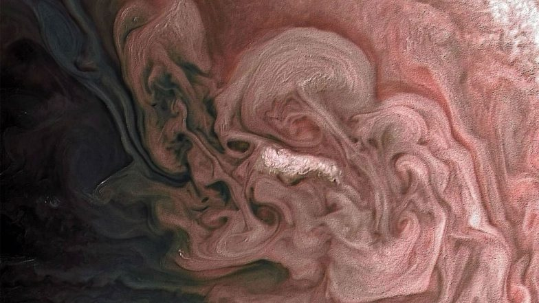 Rose-Coloured Jupiter: NASA's Juno Spacecraft Captures Stunning Picture of Massive Storm on Largest Planet