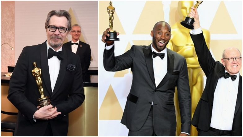 Gary Oldman dents his Oscar minutes after collecting it