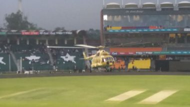 PSL 2018: Pakistan Army's Helicopter Used to dry up Outfield Ahead of Karachi Kings vs Peshawar Zalmi Eliminator, Watch Video