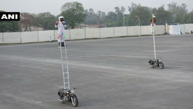 BSF Sets World Record by Riding Motorcycle for 10 hrs on Top of Pole Fitted to their Steed
