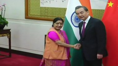 Sushma Swaraj Meets Wang Yi on The Sidelines of Shanghai Cooperation Organisation
