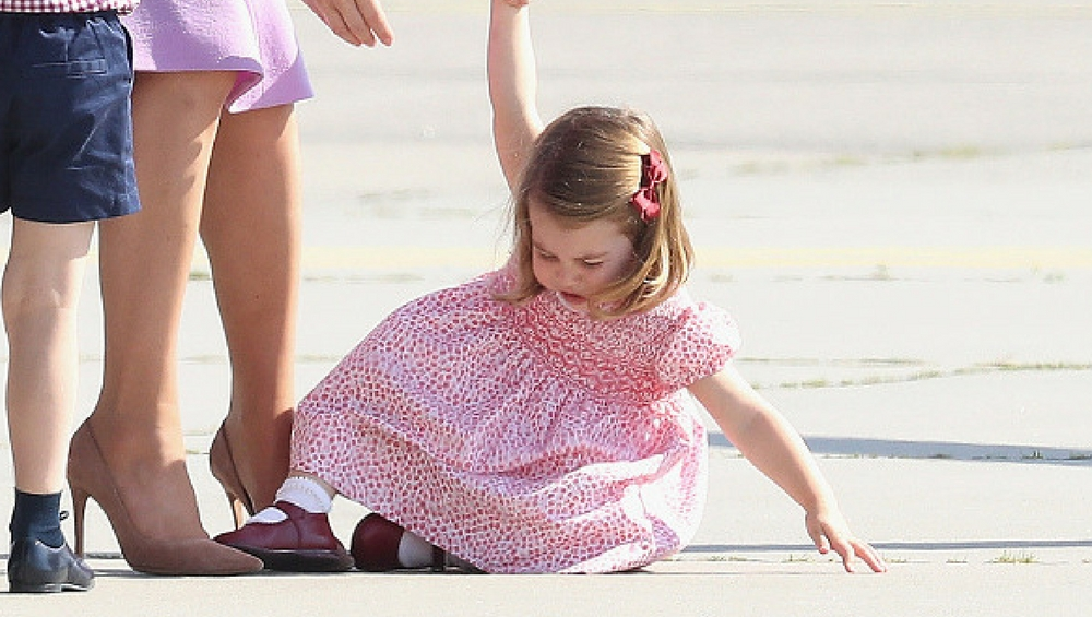 Princess Charlotte falls on the tarmac