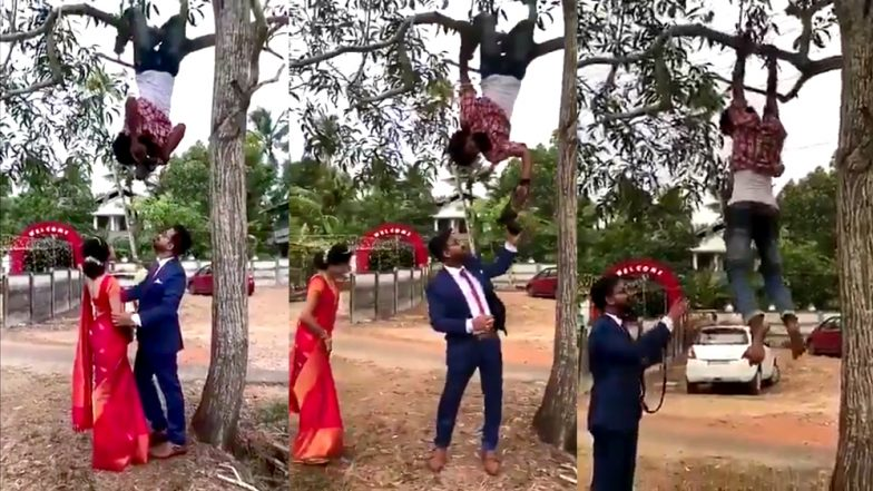 Wedding Photographer Climbs on Tree, Hangs Upside-down to Get The Right Shot of Newly Married (Watch Video)