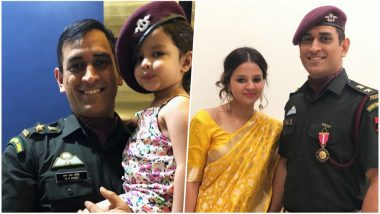 Ziva Dhoni Poses With Papa's Special Forces Cap at Padma Bhushan 2018 Ceremony (See Cute MS Dhoni's Family Pictures)