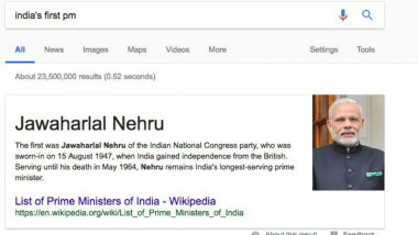 Jawahar Lal Nehru Becomes 'India's First PM' Again! Google Fixes Glitch Showing Narendra Modi's Pic in Search Results
