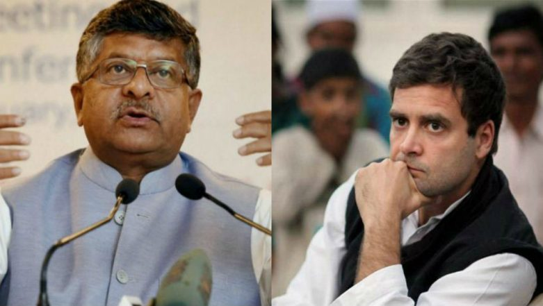 Rahul Gandhi Must Explain How His Income Jumped From Rs 55 Lakh in 2004 to Rs 9 Crore in 2014: Ravi Shankar Prasad