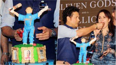 Sachin Tendulkar's 45th Birthday Cake and Party Pics: God of Cricket Celebrates Birthday with Wife Anjali & Friends