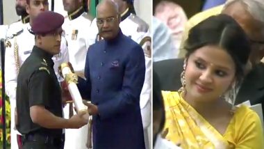 MS Dhoni Receives Padma Bhushan From President Ram Nath Kovind As Proud Wife Sakshi Cheers On (Watch Video)