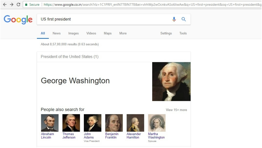 Screen Grab of US First President