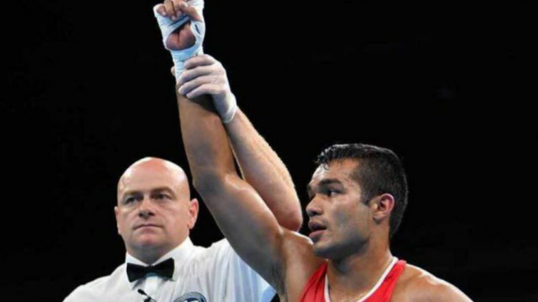 Vikas Krishan Clinches Gold Medal in Men's 75 kg Boxing Final Bout at CWG 2018