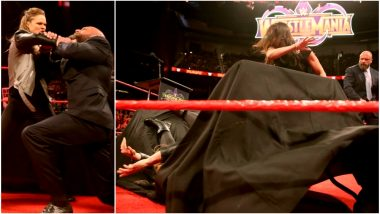 Stephanie McMahon Slams Ronda Rousey Through The Table on Monday Night RAW, Before WWE Wrestlemania 34! (Watch Video)
