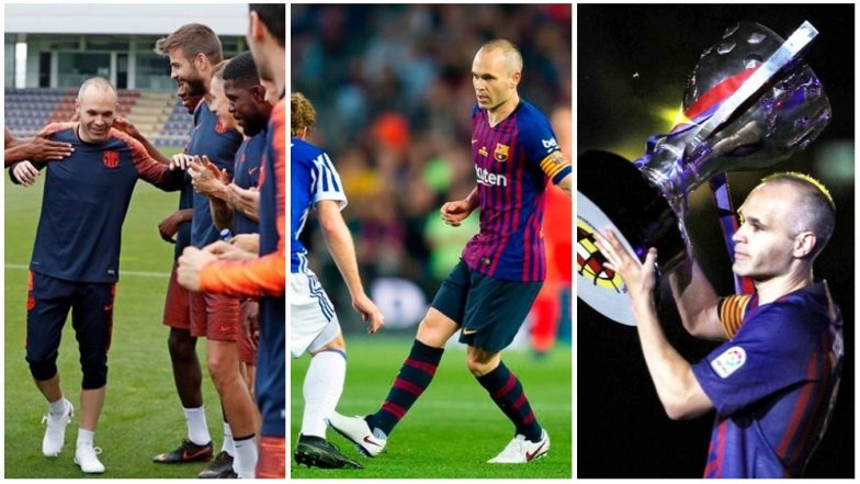 Andres Iniesta Farewell Speech Video: Watch Lionel Messi, Luis Suarez Hold Back Tears as FC Barcelona's Greatest Midfielder Exits