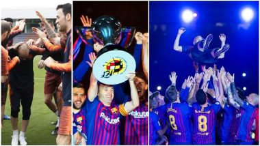 Andres Iniesta Plays His Last Match For FC Barcelona: View Pictures As The Midfielder Left Everyone Teary-Eyed at his Farewell at Camp Nou
