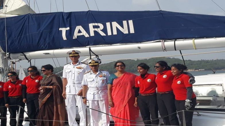 INSV Tarini Returns Home After Circumnavigating the Globe; Defence Minister Nirmala Sitharaman and Admiral Sunil Lanba Welcome Crew Members