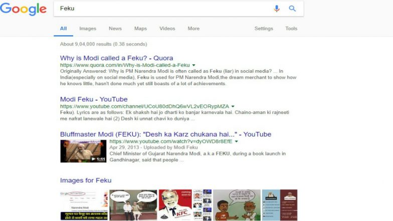 'Feku' Search Result Leads to Narendra Modi on Google