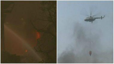 Massive Fire Breaks Out at Rubber Godown in Delhi's Malviya Nagar, 35 Fire Tenders on Spot (Watch Video)