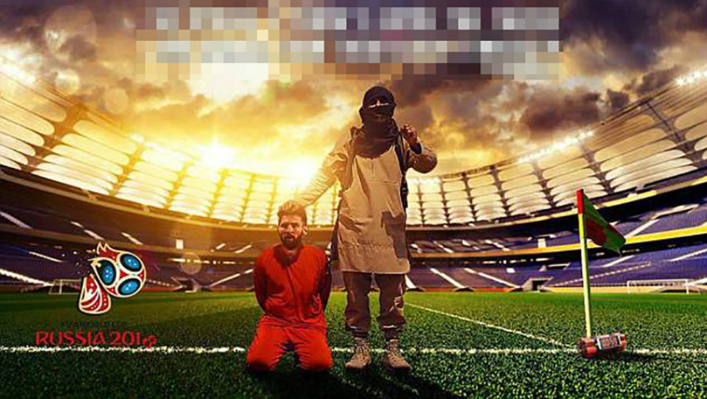 One of the doctored images showing Messi at the mercy of ISIS terrorist