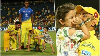 MS Dhoni Playing With Daughter Ziva Post CSK vs KXIP Battle Is Winning Hearts (See Pics and Video)