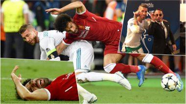 Mohamed Salah Injury Video From CL 2018 Final & Sergio Ramos 'Salt Bae' Snap Fuels 'Salah vs Ramos' Rivalry Among Fans