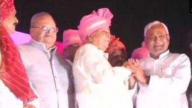 Tej Pratap & Aishwarya Rai Marriage Pics: Nitish Kumar Visits Lalu Yadav son's Wedding, Greets RJD Chief