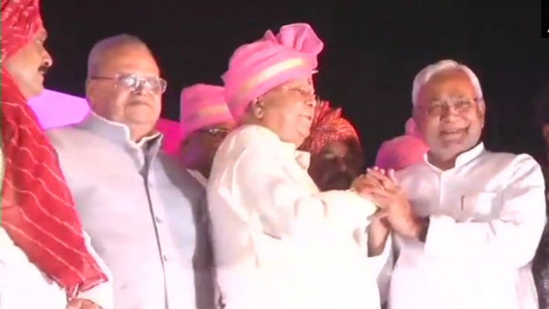 Tej Pratap & Aishwarya Rai Marriage Pics: Nitish Kumar Visits Lalu Yadav son's Wedding, Greets RJD Chief