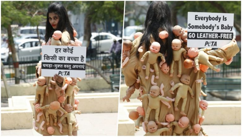 PETA Activist Spotted Protesting Against the Use of Leather in Lucknow; Twitterati Trolls & Calls it Drama